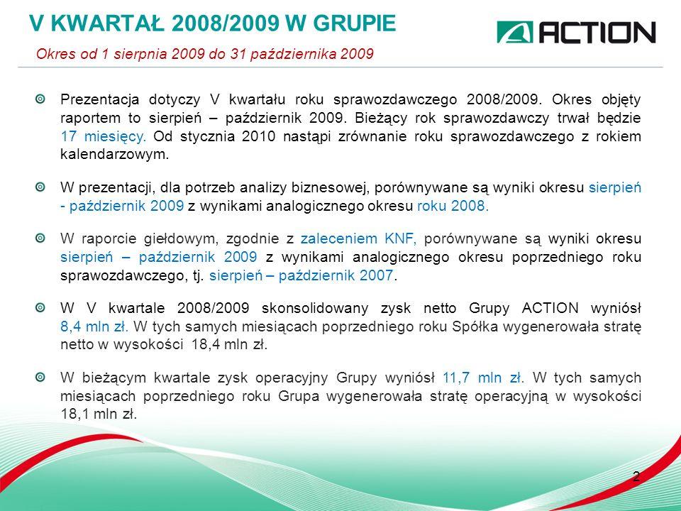 3 WYNIKI FINANSOWE W IV KWARTALE Porównanie okresu VIII – X 2009 do okresu od VIII – X 2008 Przychody ze sprzedaży (tys.