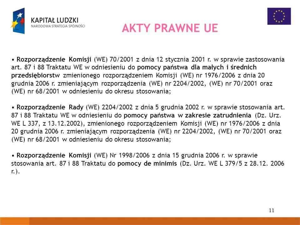 11 AKTY PRAWNE UE Rozporządzenie Komisji (WE) 70/2001 z dnia 12 stycznia 2001 r. w sprawie zastosowania art. 87 i 88 Traktatu WE w odniesieniu do pomo