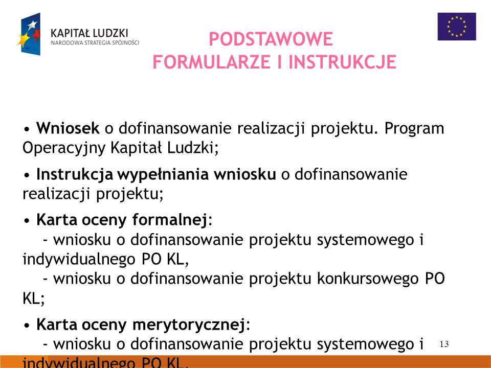 13 Wniosek o dofinansowanie realizacji projektu. Program Operacyjny Kapitał Ludzki; Instrukcja wypełniania wniosku o dofinansowanie realizacji projekt