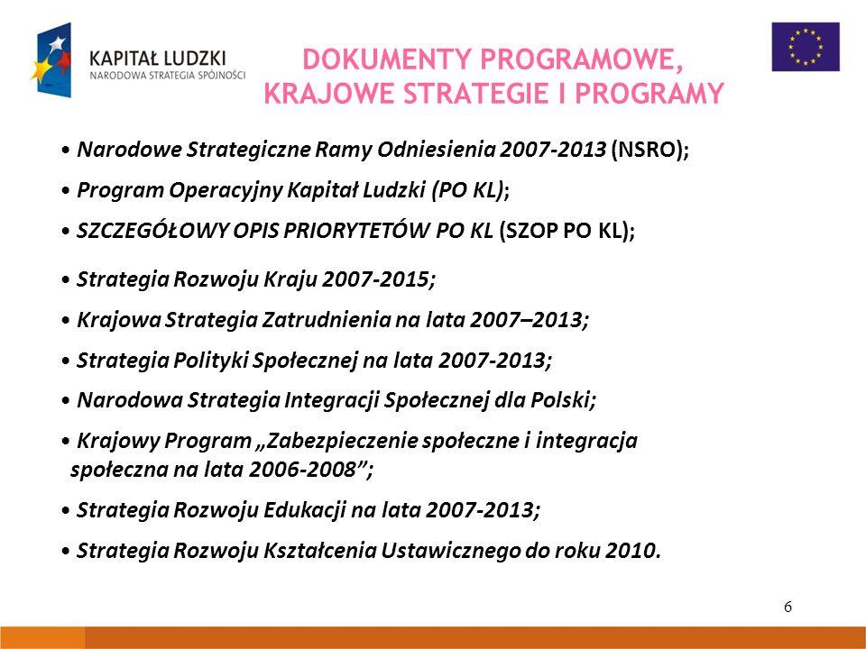 6 DOKUMENTY PROGRAMOWE, KRAJOWE STRATEGIE I PROGRAMY Narodowe Strategiczne Ramy Odniesienia 2007-2013 (NSRO); Program Operacyjny Kapitał Ludzki (PO KL