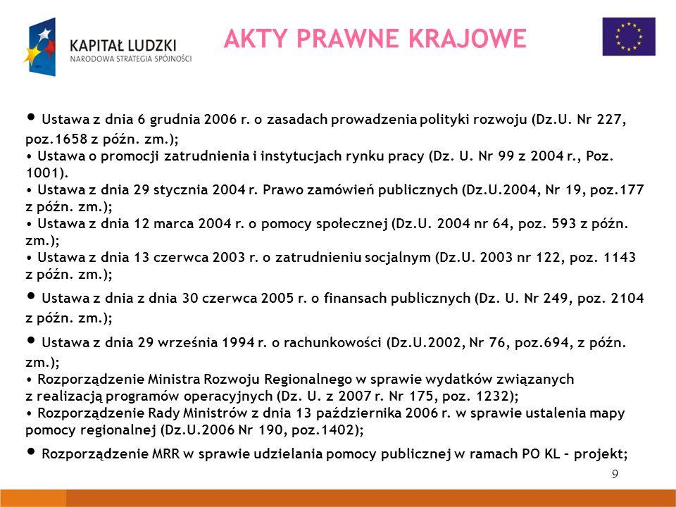 9 AKTY PRAWNE KRAJOWE Ustawa z dnia 6 grudnia 2006 r. o zasadach prowadzenia polityki rozwoju (Dz.U. Nr 227, poz.1658 z późn. zm.); Ustawa o promocji