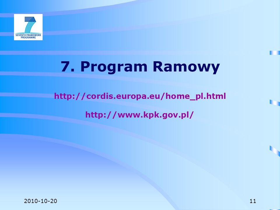 2010-10-20 7. Program Ramowy http://cordis.europa.eu/home_pl.html http://www.kpk.gov.pl/ 11