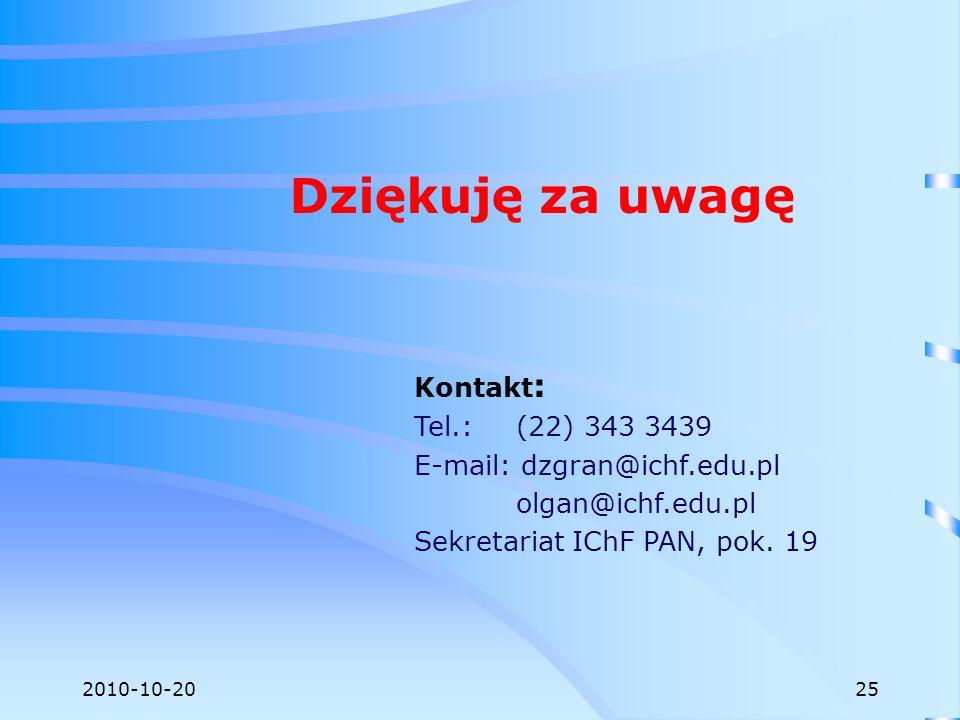 2010-10-20 Dziękuję za uwagę Kontakt : Tel.: (22) 343 3439 E-mail: dzgran@ichf.edu.pl olgan@ichf.edu.pl Sekretariat IChF PAN, pok. 19 25