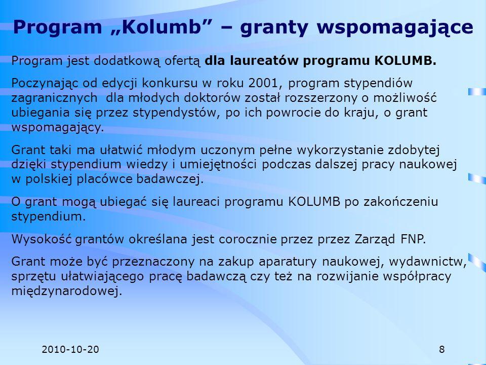 2010-10-20 Program jest dodatkową ofertą dla laureatów programu KOLUMB. Poczynając od edycji konkursu w roku 2001, program stypendiów zagranicznych dl