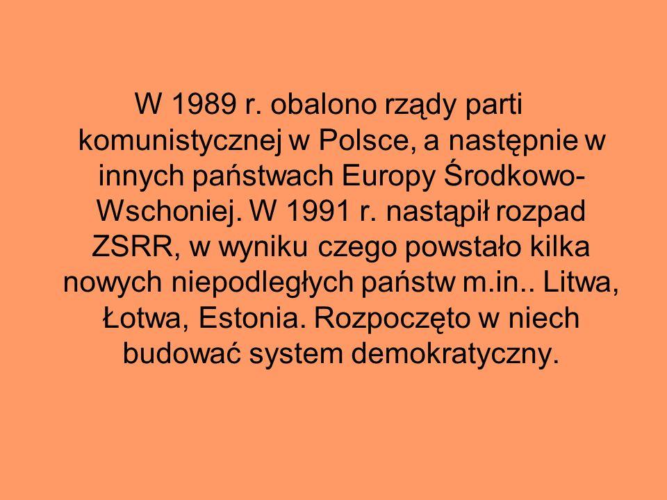 W 1989 r. obalono rządy parti komunistycznej w Polsce, a następnie w innych państwach Europy Środkowo- Wschoniej. W 1991 r. nastąpił rozpad ZSRR, w wy