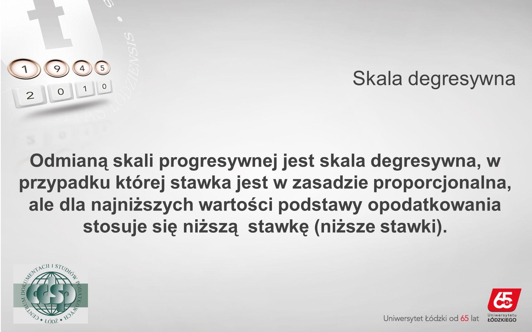 Skala degresywna Odmianą skali progresywnej jest skala degresywna, w przypadku której stawka jest w zasadzie proporcjonalna, ale dla najniższych warto