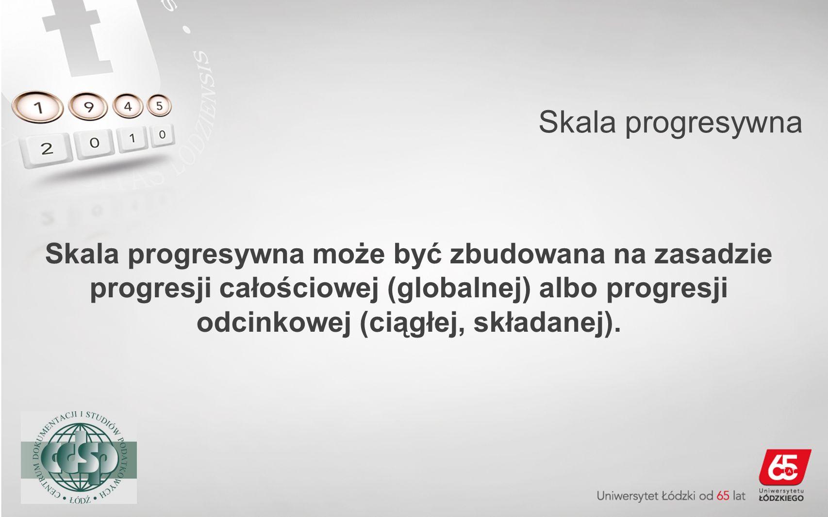 Skala progresywna Skala progresywna może być zbudowana na zasadzie progresji całościowej (globalnej) albo progresji odcinkowej (ciągłej, składanej).