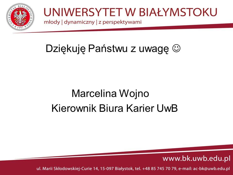Dziękuję Państwu z uwagę Marcelina Wojno Kierownik Biura Karier UwB