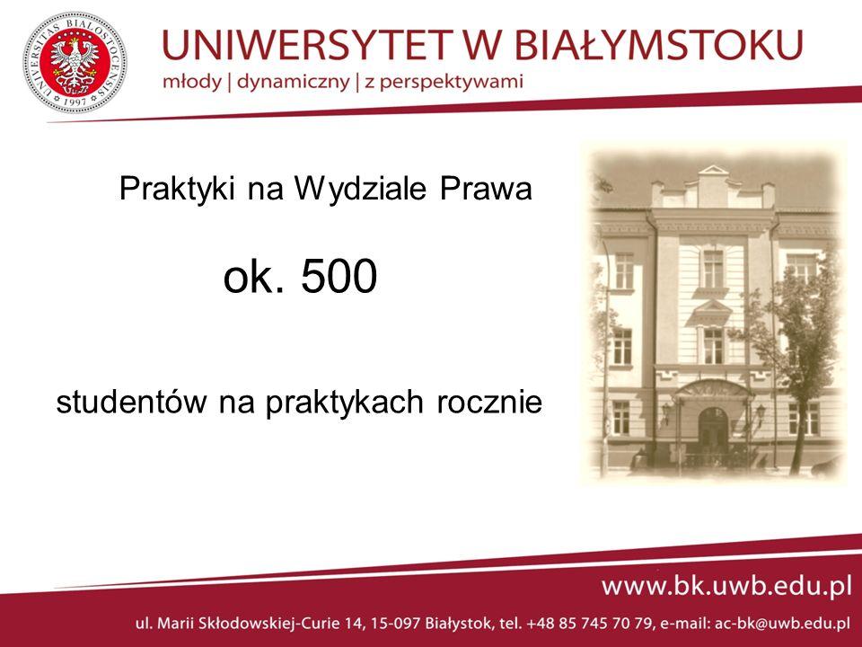 Praktyki studentów Wydziału Prawa: - administracja – na II roku - europeistyka – na II roku - prawo – na IV i V roku