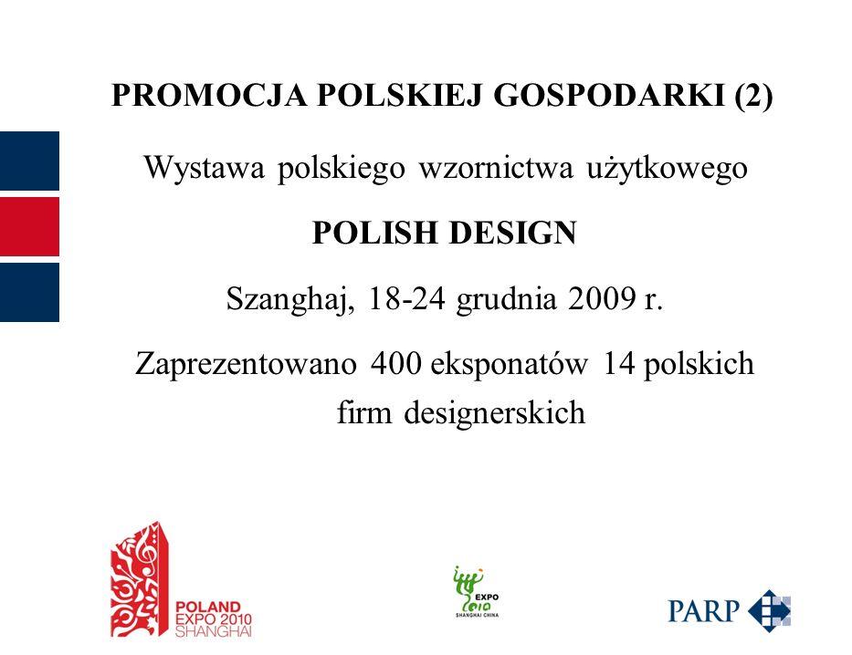 PROMOCJA POLSKIEJ GOSPODARKI (2) Wystawa polskiego wzornictwa użytkowego POLISH DESIGN Szanghaj, 18-24 grudnia 2009 r.