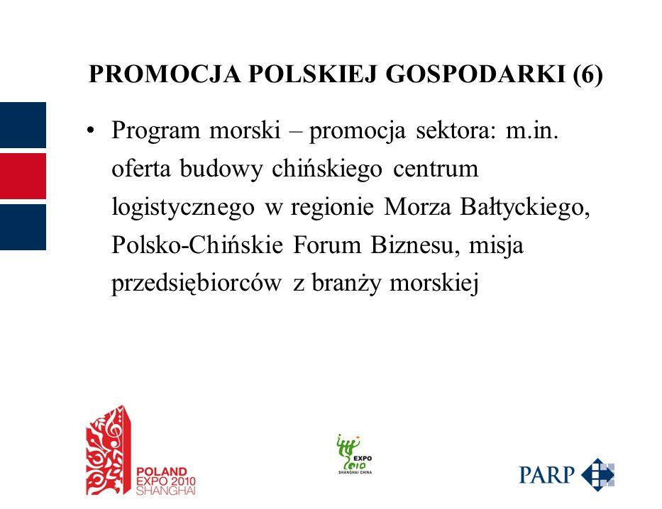 PROMOCJA POLSKIEJ GOSPODARKI (6) Program morski – promocja sektora: m.in.