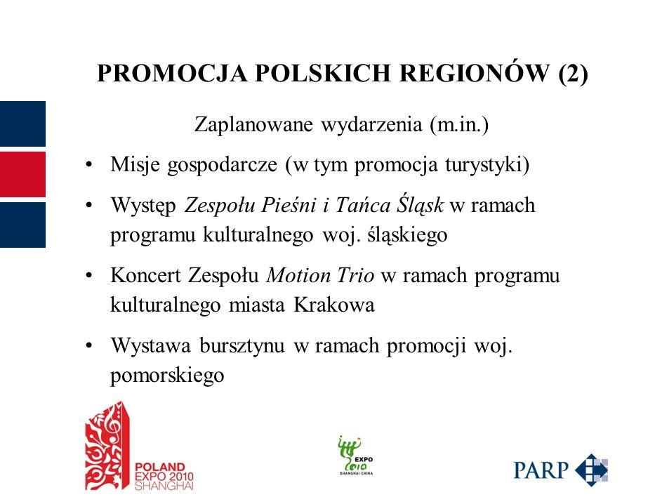 PROMOCJA POLSKICH REGIONÓW (2) Zaplanowane wydarzenia (m.in.) Misje gospodarcze (w tym promocja turystyki) Występ Zespołu Pieśni i Tańca Śląsk w ramach programu kulturalnego woj.