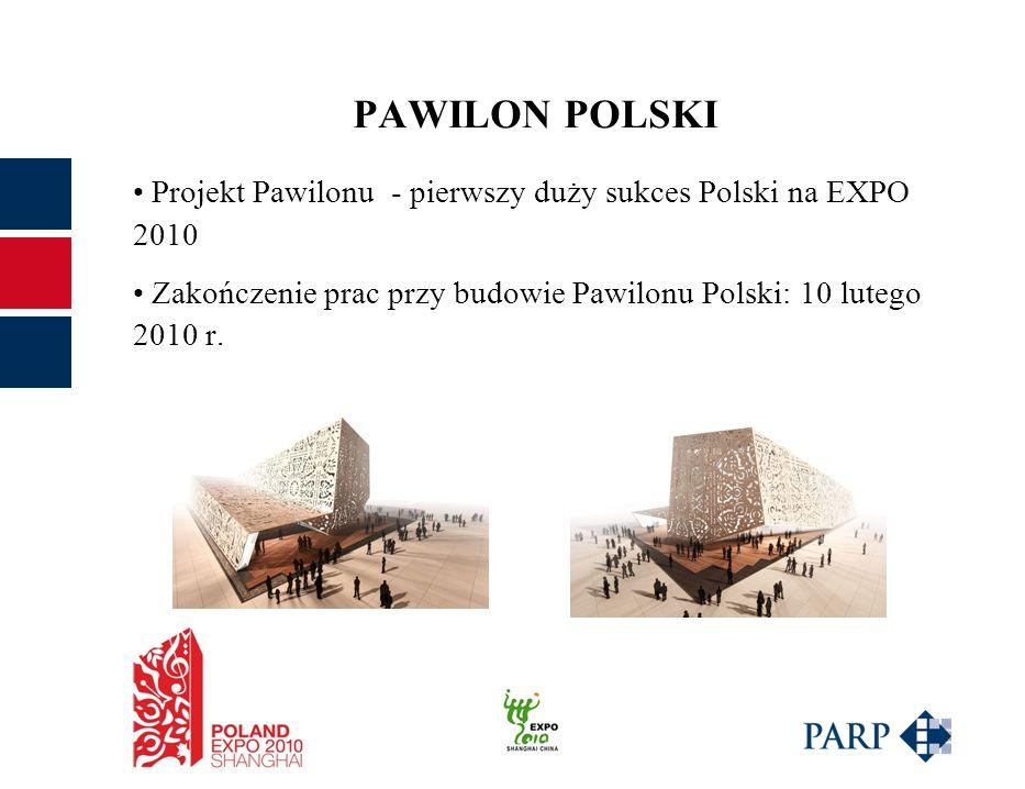 PAWILON POLSKI Projekt Pawilonu - pierwszy duży sukces Polski na EXPO 2010 Zakończenie prac przy budowie Pawilonu Polski: 10 lutego 2010 r.