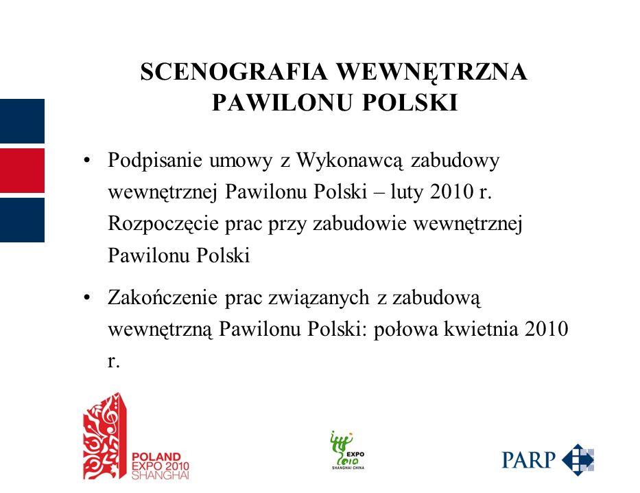 SCENOGRAFIA WEWNĘTRZNA PAWILONU POLSKI Podpisanie umowy z Wykonawcą zabudowy wewnętrznej Pawilonu Polski – luty 2010 r.