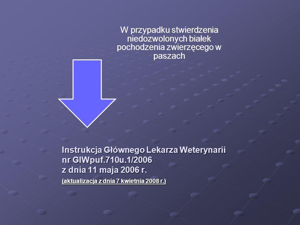 Instrukcja Głównego Lekarza Weterynarii nr GIWpuf.710u.1/2006 z dnia 11 maja 2006 r. W przypadku stwierdzenia niedozwolonych białek pochodzenia zwierz