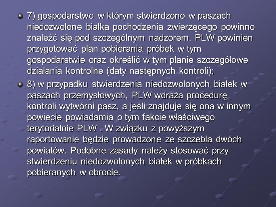 7) gospodarstwo w którym stwierdzono w paszach niedozwolone białka pochodzenia zwierzęcego powinno znaleźć się pod szczególnym nadzorem. PLW powinien