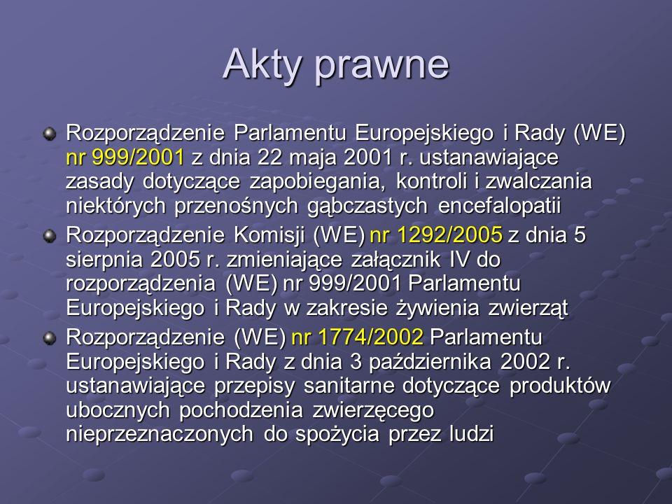 Akty prawne Rozporządzenie Parlamentu Europejskiego i Rady (WE) nr 999/2001 z dnia 22 maja 2001 r. ustanawiające zasady dotyczące zapobiegania, kontro