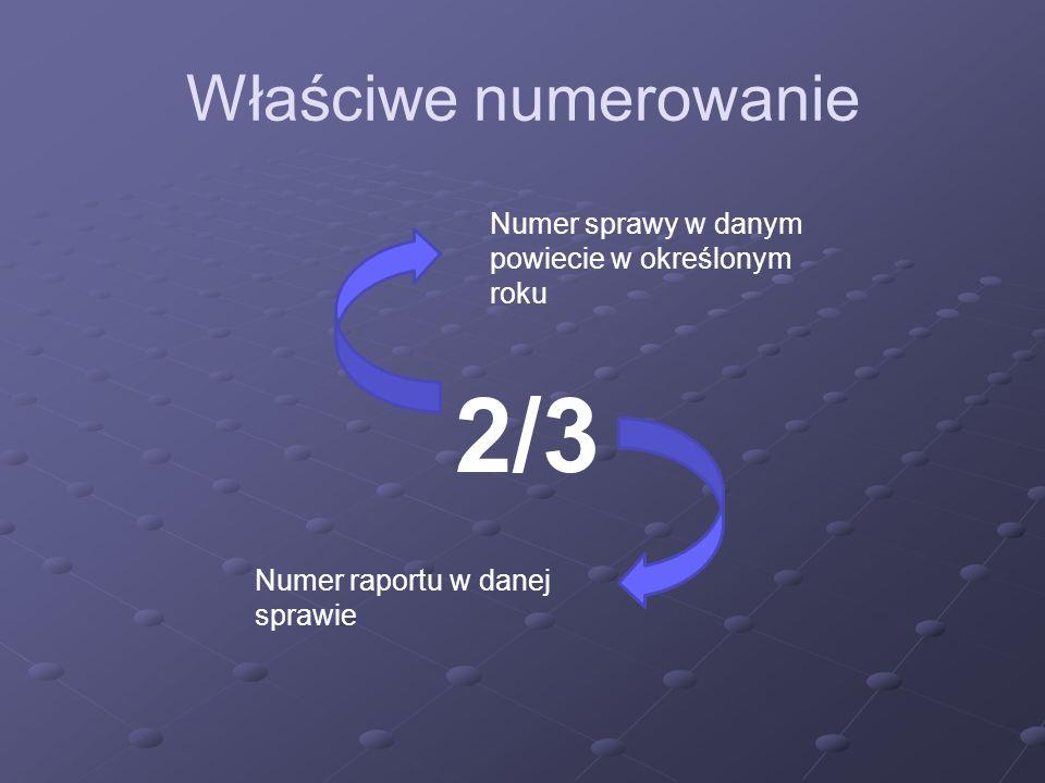 Właściwe numerowanie 2/3 Numer sprawy w danym powiecie w określonym roku Numer raportu w danej sprawie