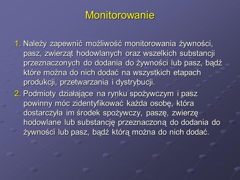Monitorowanie 1. Należy zapewnić możliwość monitorowania żywności, pasz, zwierząt hodowlanych oraz wszelkich substancji przeznaczonych do dodania do ż