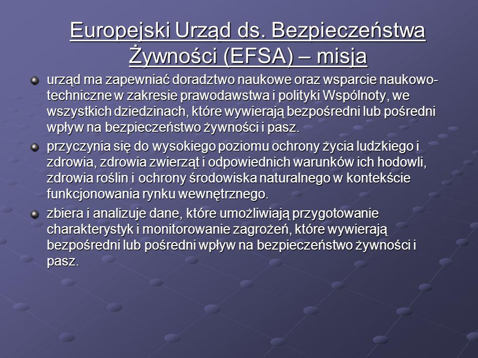 Europejski Urząd ds. Bezpieczeństwa Żywności (EFSA) – misja Europejski Urząd ds. Bezpieczeństwa Żywności (EFSA) – misja urząd ma zapewniać doradztwo n
