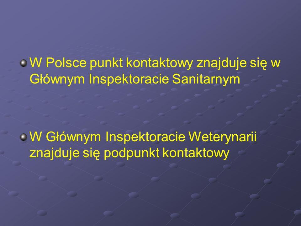 W Polsce punkt kontaktowy znajduje się w Głównym Inspektoracie Sanitarnym W Głównym Inspektoracie Weterynarii znajduje się podpunkt kontaktowy