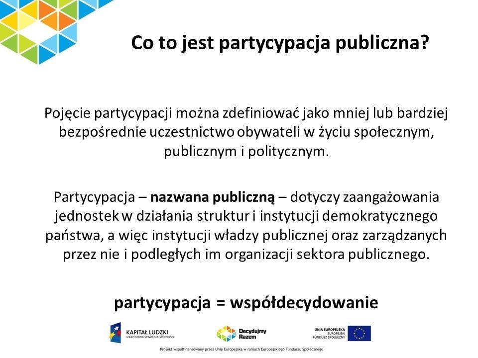 Co to jest partycypacja publiczna? Pojęcie partycypacji można zdefiniować jako mniej lub bardziej bezpośrednie uczestnictwo obywateli w życiu społeczn