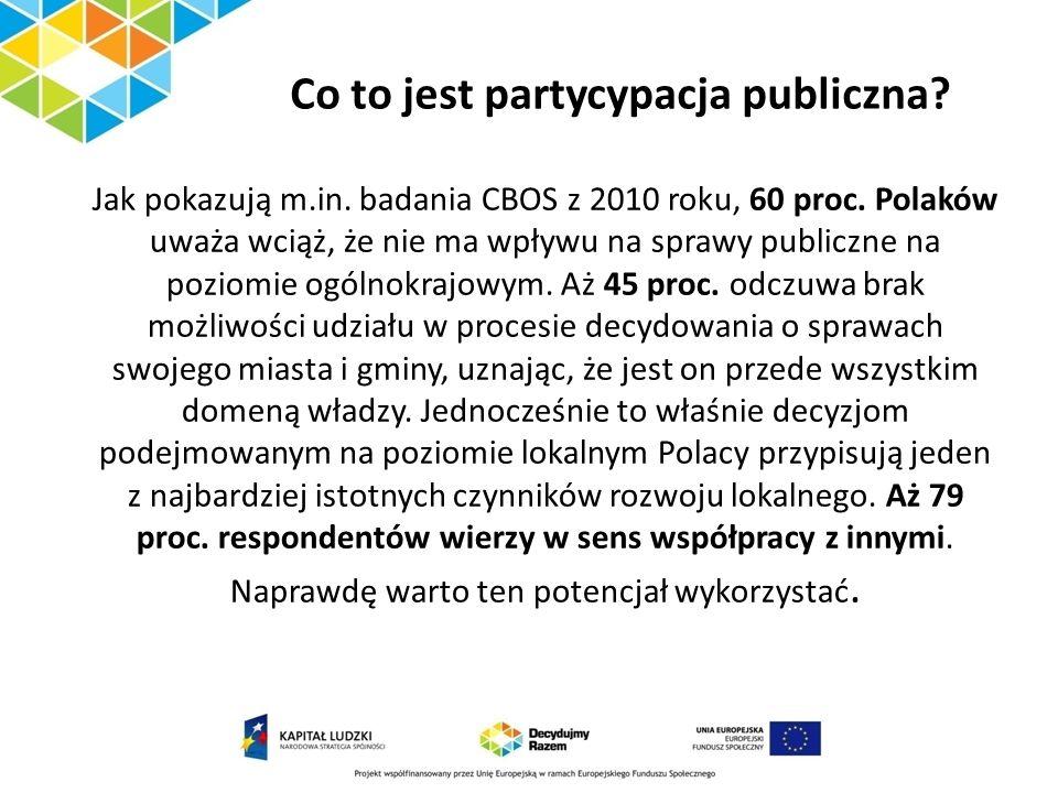 Co to jest partycypacja publiczna? Jak pokazują m.in. badania CBOS z 2010 roku, 60 proc. Polaków uważa wciąż, że nie ma wpływu na sprawy publiczne na