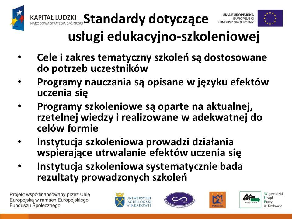 Standardy dotyczące usługi edukacyjno-szkoleniowej Cele i zakres tematyczny szkoleń są dostosowane do potrzeb uczestników Programy nauczania są opisan
