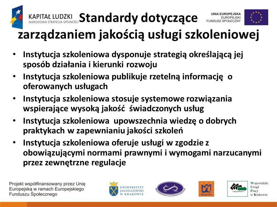 Standardy dotyczące zarządzaniem jakością usługi szkoleniowej Instytucja szkoleniowa dysponuje strategią określającą jej sposób działania i kierunki r