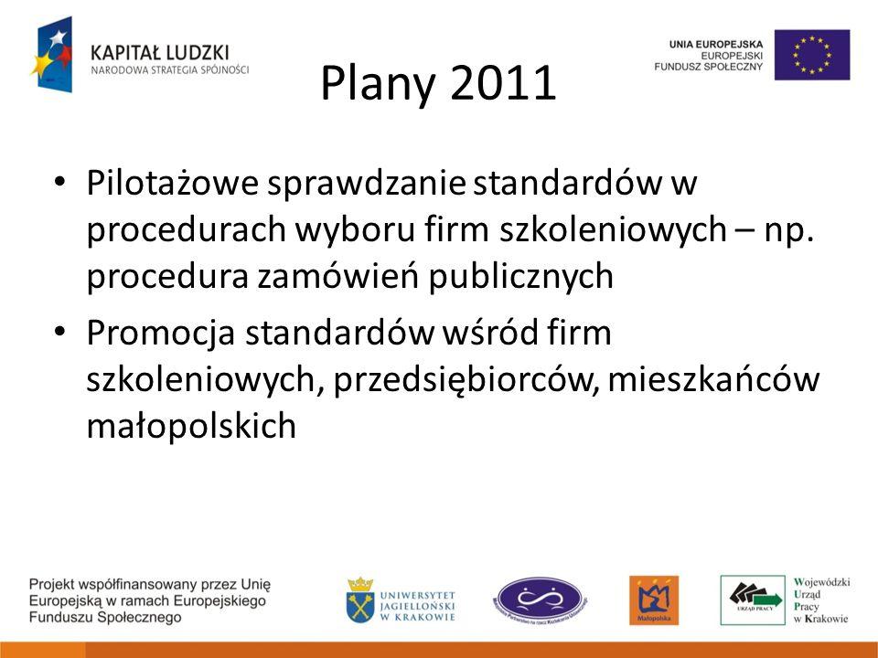 Plany 2011 Pilotażowe sprawdzanie standardów w procedurach wyboru firm szkoleniowych – np. procedura zamówień publicznych Promocja standardów wśród fi