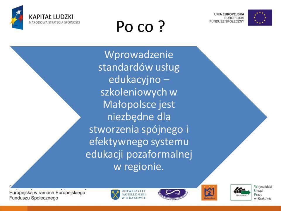 Cele standardów Edukacja firm szkoleniowych Edukacja klientów (indywidualni, organizacje, podmioty dysponujące pieniędzmi unijnymi) Gwarancja dobrej jakości/Przejrzystość firm Promocja dobrych praktyk Promocja firm spełniających standard Środki publiczne dla firm gwarantujących jakość usług