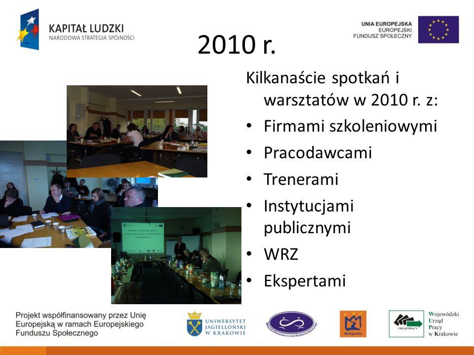 2010 r. Kilkanaście spotkań i warsztatów w 2010 r. z: Firmami szkoleniowymi Pracodawcami Trenerami Instytucjami publicznymi WRZ Ekspertami