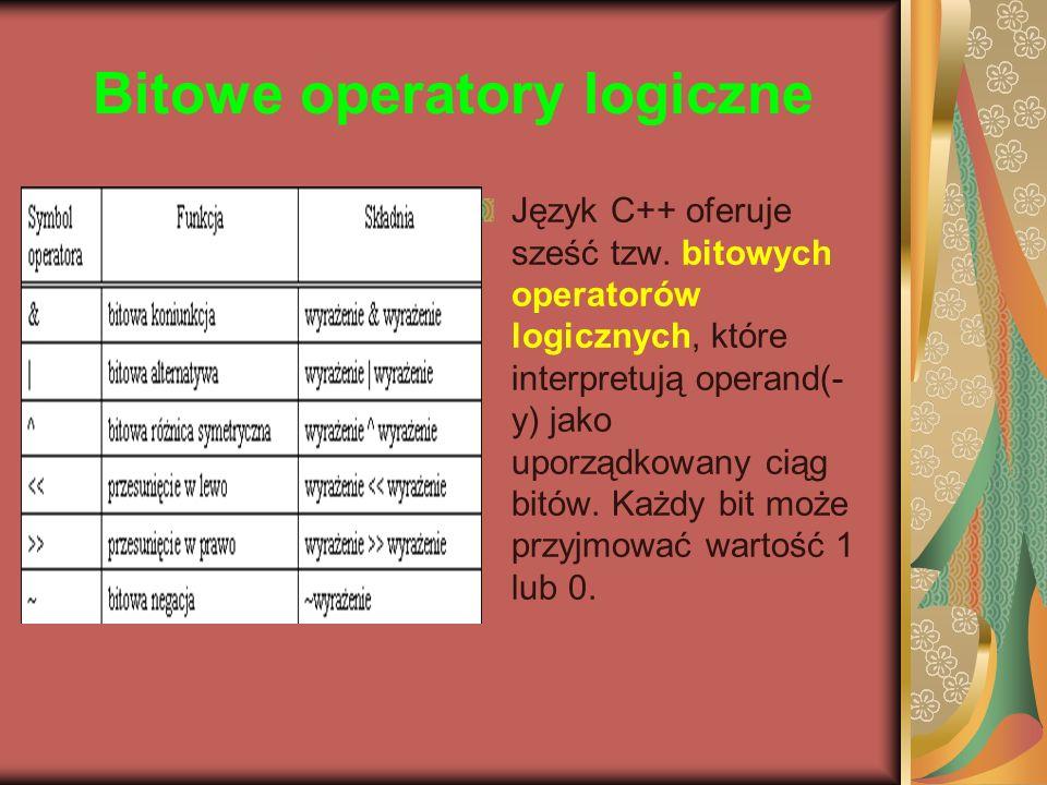 Bitowe operatory logiczne Język C++ oferuje sześć tzw. bitowych operatorów logicznych, które interpretują operand(- y) jako uporządkowany ciąg bitów.
