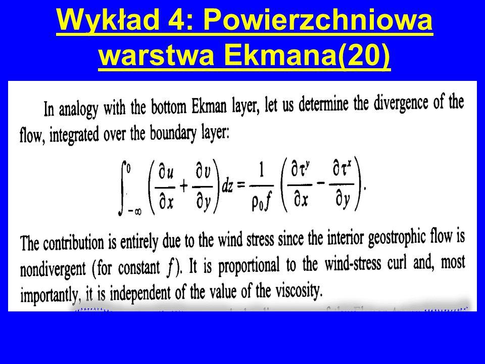 Wykład 4: Powierzchniowa warstwa Ekmana(20)