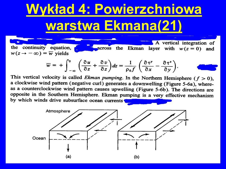 Wykład 4: Powierzchniowa warstwa Ekmana(21)