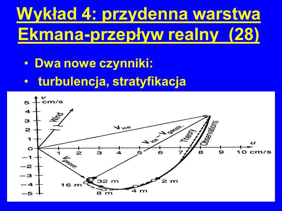 Wykład 4: przydenna warstwa Ekmana-przepływ realny (28) Dwa nowe czynniki: turbulencja, stratyfikacja