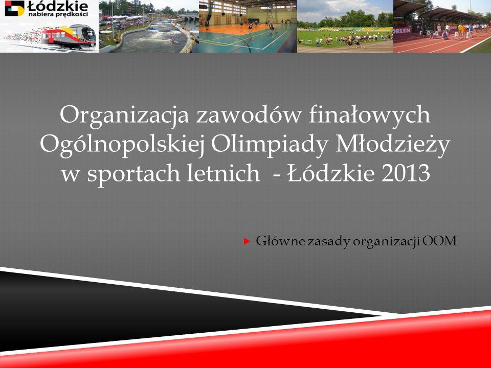 Organizacja zawodów finałowych Ogólnopolskiej Olimpiady Młodzieży w sportach letnich - Łódzkie 2013 Główne zasady organizacji OOM