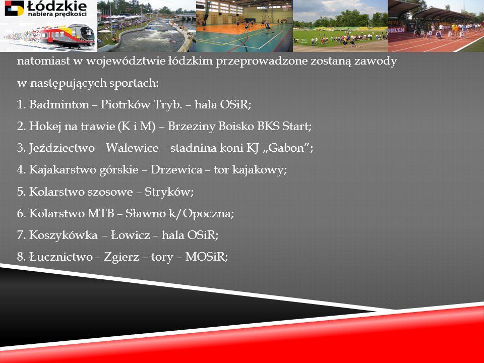 natomiast w województwie łódzkim przeprowadzone zostaną zawody w następujących sportach: 1. Badminton – Piotrków Tryb. – hala OSiR; 2. Hokej na trawie