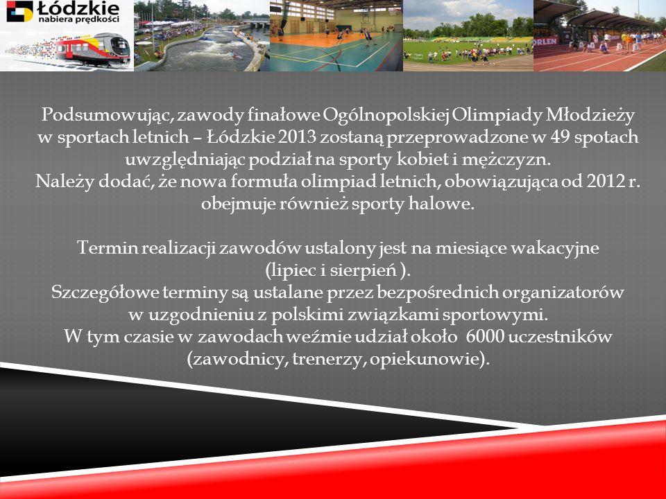 Podsumowując, zawody finałowe Ogólnopolskiej Olimpiady Młodzieży w sportach letnich – Łódzkie 2013 zostaną przeprowadzone w 49 spotach uwzględniając p