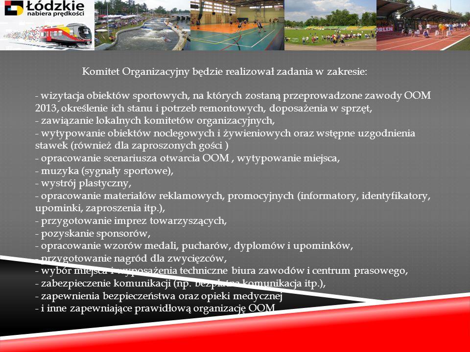 Komitet Organizacyjny będzie realizował zadania w zakresie: - wizytacja obiektów sportowych, na których zostaną przeprowadzone zawody OOM 2013, określ