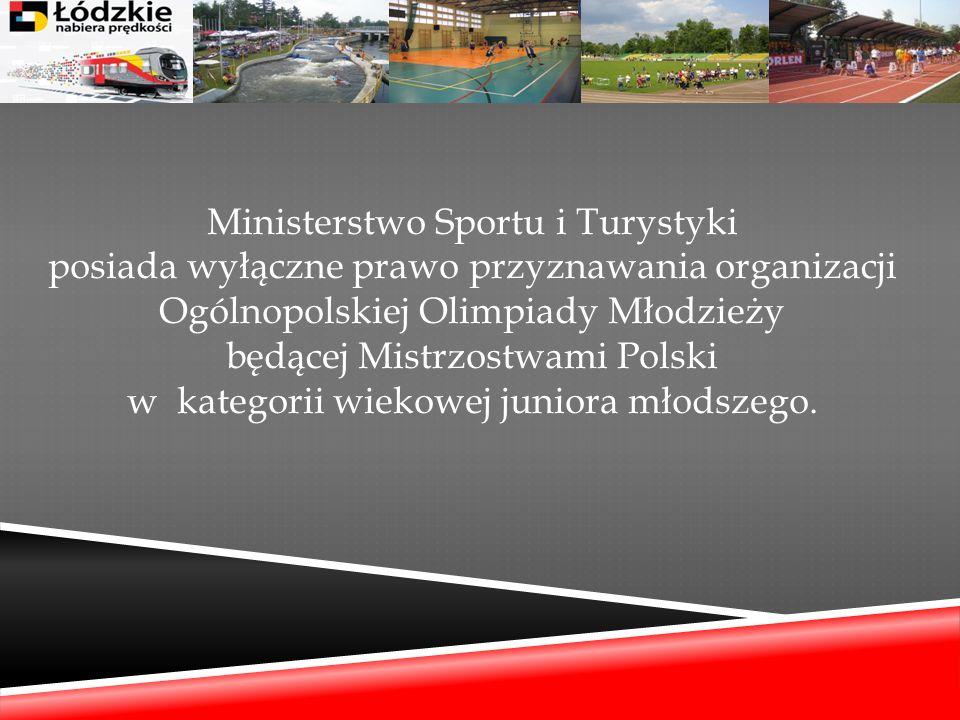 Ministerstwo Sportu i Turystyki posiada wyłączne prawo przyznawania organizacji Ogólnopolskiej Olimpiady Młodzieży będącej Mistrzostwami Polski w kate