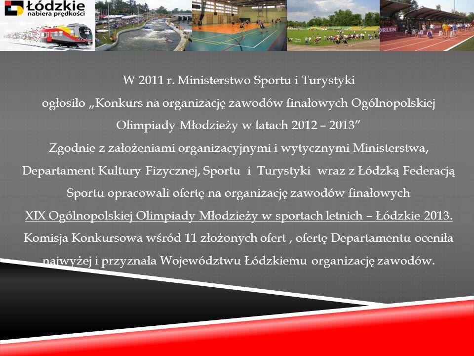 W 2011 r. Ministerstwo Sportu i Turystyki ogłosiło Konkurs na organizację zawodów finałowych Ogólnopolskiej Olimpiady Młodzieży w latach 2012 – 2013 Z