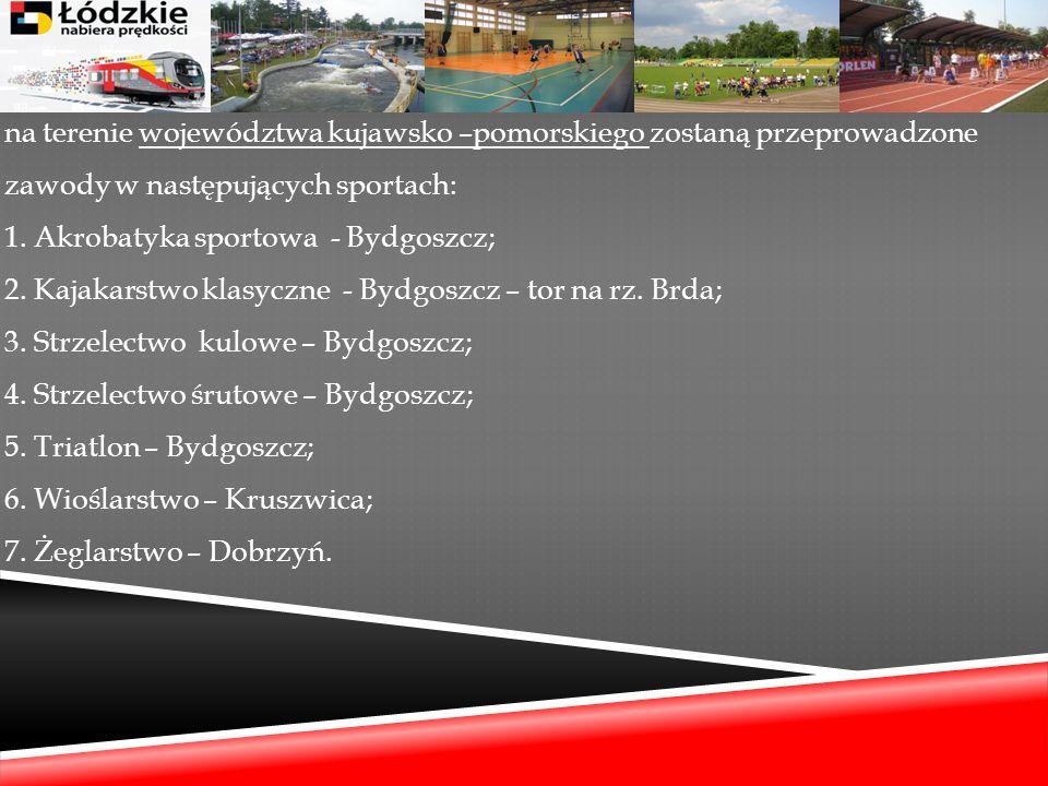 na terenie województwa kujawsko –pomorskiego zostaną przeprowadzone zawody w następujących sportach: 1. Akrobatyka sportowa - Bydgoszcz; 2. Kajakarstw