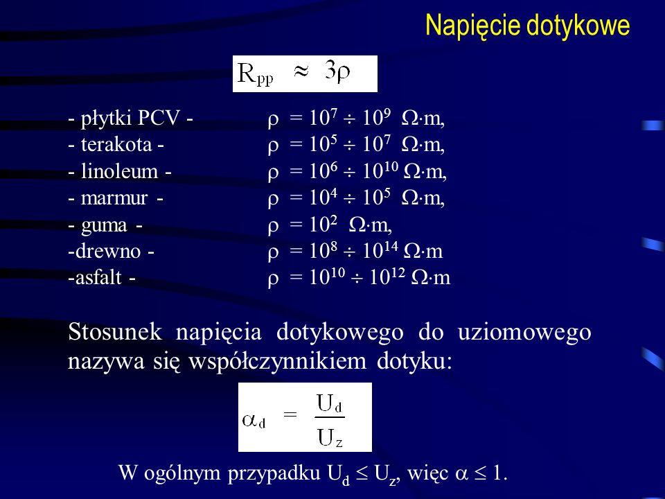 Napięcie dotykowe - płytki PCV - = 10 7 10 9 m, - terakota - = 10 5 10 7 m, - linoleum - = 10 6 10 10 m, - marmur - = 10 4 10 5 m, - guma - = 10 2 m,