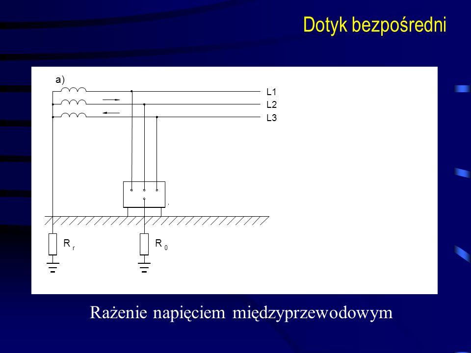 L1 L2 L3 Z f 0 I r R r0 R a) Dotyk bezpośredni Rażenie napięciem międzyprzewodowym