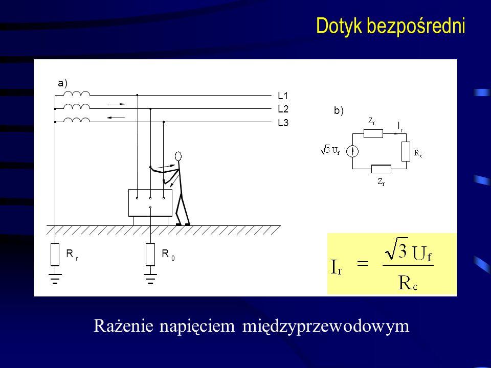 L1 L2 L3 I r R r0 R a) b) Dotyk bezpośredni Rażenie napięciem międzyprzewodowym