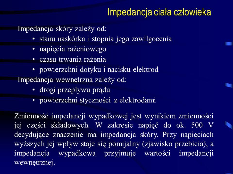 Impedancja ciała człowieka Impedancja skóry zależy od: stanu naskórka i stopnia jego zawilgocenia napięcia rażeniowego czasu trwania rażenia powierzch