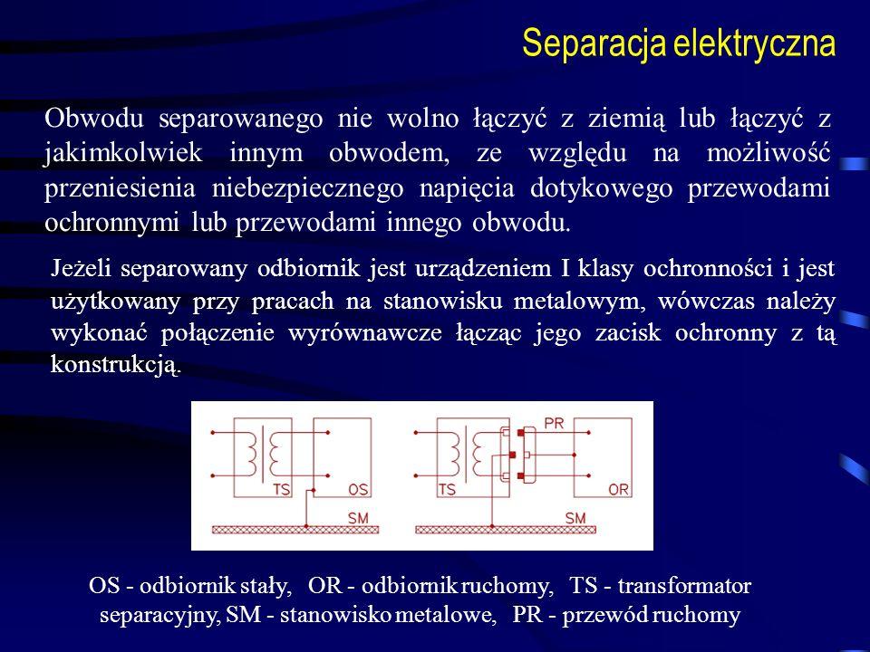 Separacja elektryczna Obwodu separowanego nie wolno łączyć z ziemią lub łączyć z jakimkolwiek innym obwodem, ze względu na możliwość przeniesienia nie
