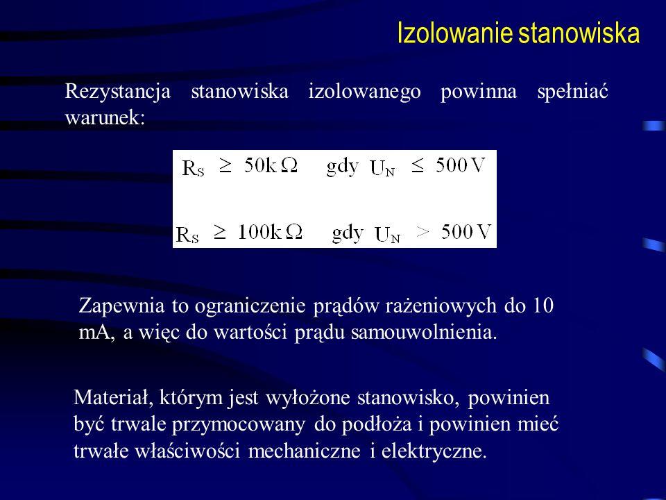 Izolowanie stanowiska Rezystancja stanowiska izolowanego powinna spełniać warunek: Zapewnia to ograniczenie prądów rażeniowych do 10 mA, a więc do war