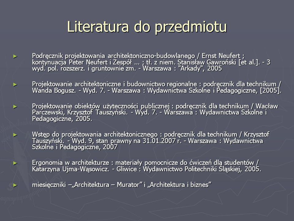 Literatura do przedmiotu Podręcznik projektowania architektoniczno-budowlanego / Ernst Neufert ; kontynuacja Peter Neufert i Zespół... ; tł. z niem. S